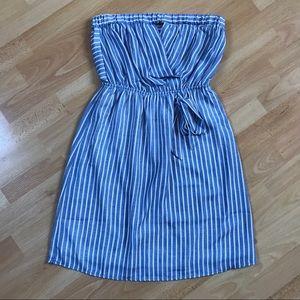 Monteau Los Angeles Blue Striped Strapless Dress